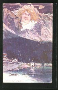 Künstler-AK Fritz Hass: Berg mit Gesicht hinter einer Stadt am See, Killinger Nr. 152, Berggesichter