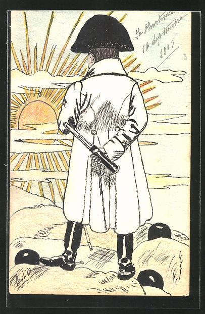 Künstler-AK Handgemalt: Napoleon mit Fernrohr im Sonnenschein