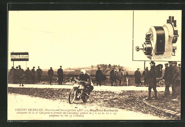 AK Circuit de Melun, Motorradrennfahrer Dubost auf Magneto Ruthardt