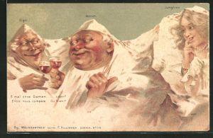 Künstler-AK Killinger Nr. 114: Eiger und Mönch trinken ein Glas Rotwein, Berg mit Gesicht / Berggesichter