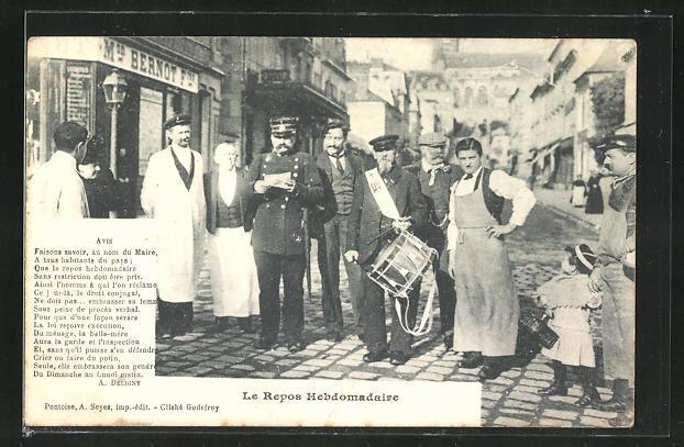 AK Le Repos Hebdomadaire, Polizeibeamter, Bier-Brauer und Ausrufer mit Trommel