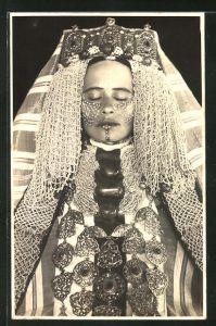 Foto-AK Nordafrikanische Braut mit bemaltem Gesicht