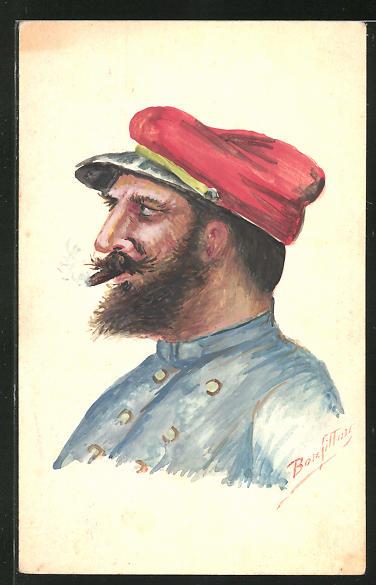 Künstler-AK Handgemalt: Profil von französ. Soldat