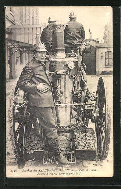 AK Paris, Sapeurs-Pompiers, Pompe à vapeur..., Feuerwehr mit Dampfpumpe