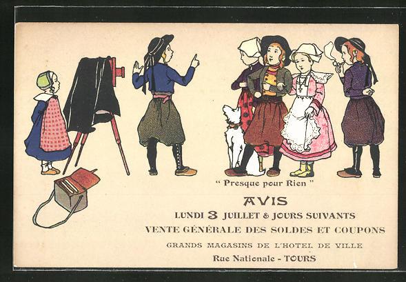 AK Tours, Vente Générale des Soldes et Coupons, Grands Magasins de l'Hotel de Ville, Fotoapparat, Trachten