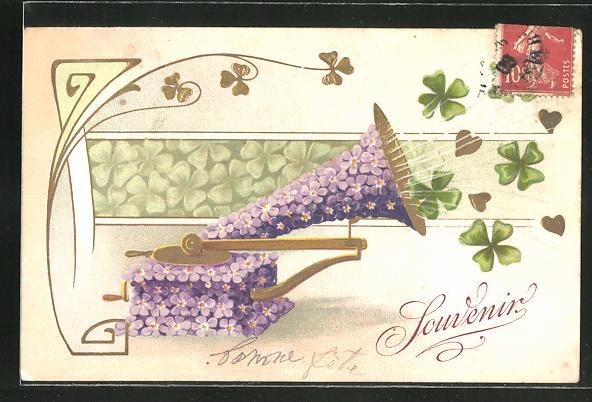 Präge-Lithographie Souvenier, Blumen-Grammophon