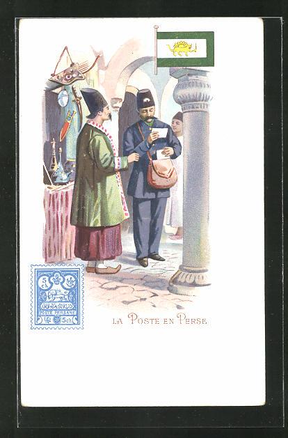 Künstler-AK La Poste en Perse, Iranischer Briefträger