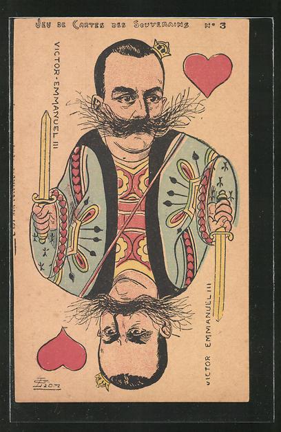 AK König Victor Emanuel III. von Italien als Herz König beim Kartenspiel