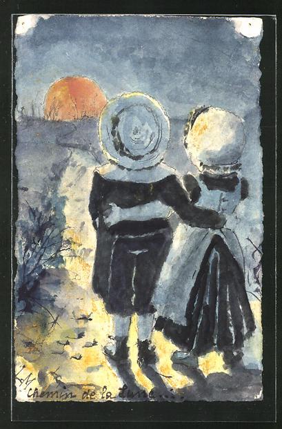 Künstler-AK Handgemalt: Kleines Liebespaar geniesst den Sonnenuntergang