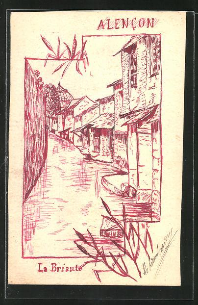 Künstler-AK Handgemalt: Alencon, Ortspartie am Fluss Briante
