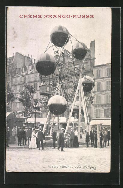 AK Fete Foraine, Les Ballons, Reklame für Crème Franco-Russe