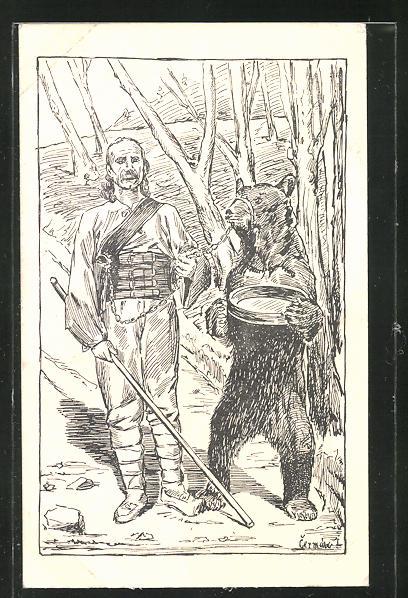 Künstler-AK Tanzbär mit seinem Besitzer