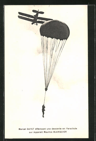 AK Fallschirmspringer Marcel Gayet ist von einem Doppeldecker abgesprungen