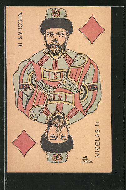 AK Zar Nikolaus II. von Russland als Karo König beim Kartenspiel