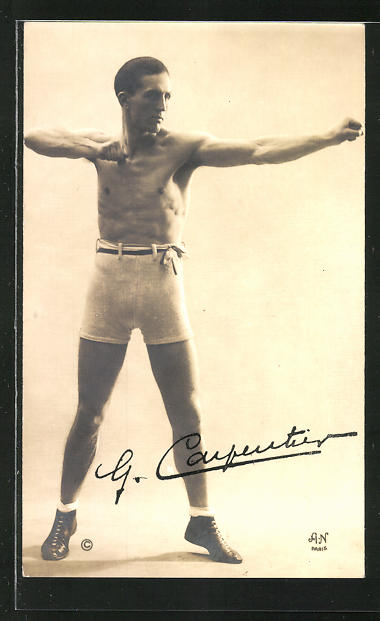 AK Boxer G. Carpentier in Pose, Original Autograph