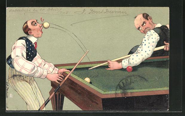 Präge-AK Billard-Humor, Snooker, Pool