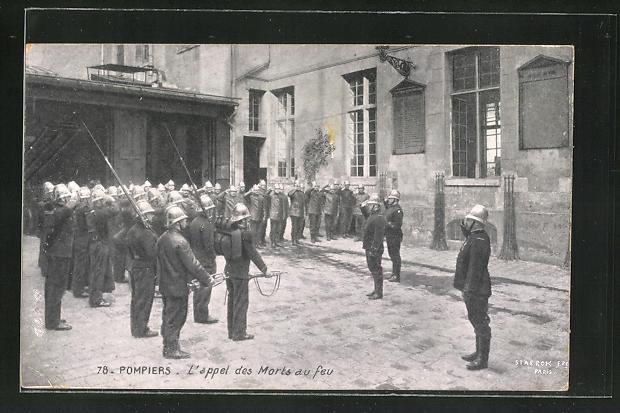 AK Paris, Pompiers, L'appel des Morts au feu, Feuerwehr