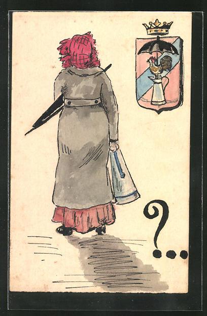 Künstler-AK Handgemalt: Frau im Mantel mit Schirm und Wappen