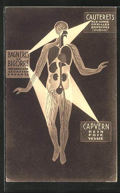 AK Reklame für Medikament Bagneres de Bigorre, Cauterets, Capvern