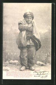 AK Le Noel du Petit Ramoneur, Schornsteinfegerjunge im Schnee