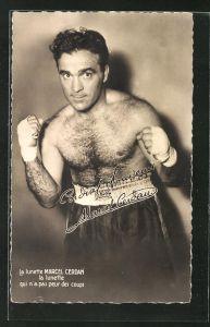 Foto-AK Portrait von Boxer Marcel Cerdan mit Bandagen