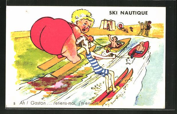AK Ski Nautique, Dicke Frau und dünner Mann beim Wasserski, Wassersport