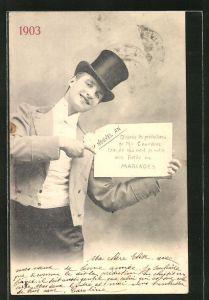 AK Nouvel An, D'apres les predictions de M. Couedon l'annee qui vient de naitre sera fertile en Mariages 1903, Hochzeit