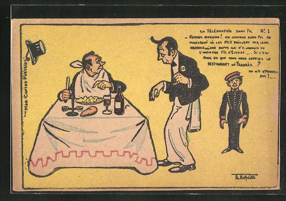Künstler-AK sign. Norwins: Mann im Restaurant mit Kellner und Bote, Norwins
