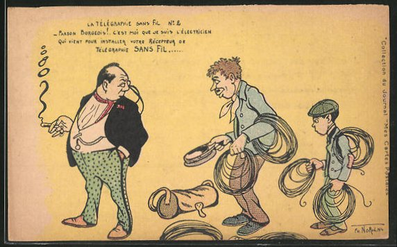Künstler-AK sign. Norwins: Mann mit Zigarette und Kabelträger, Norwins