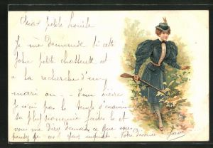 Lithographie Jägerin mit Gewehr im Wald