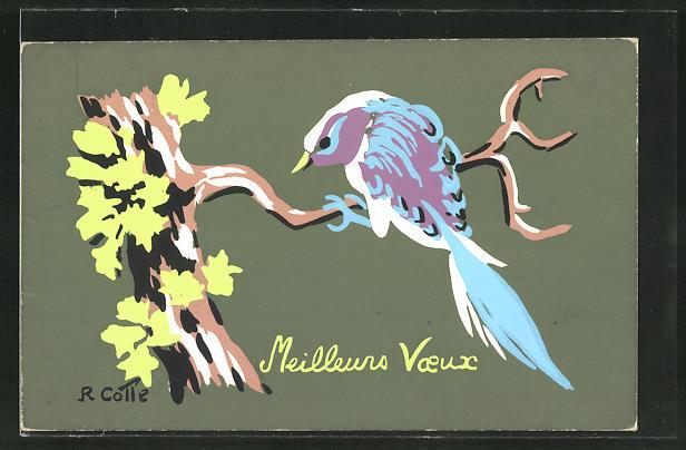 Künstler-AK Handgemalt: Meilleurs Voeux, Vogel auf einem Zweig, Schablonenmalerei