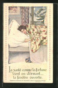 AK La sante comme la fortune cient en dormant, la fenetre ouverte, Medizin