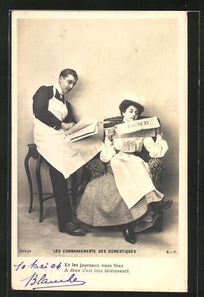 AK Les Commandements des Domestiques, Dienstmädchen und Page lesen Zeitung