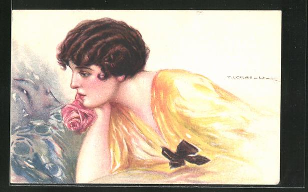 Künstler-AK Tito Corbella: Junge Dame verträumt mit Rosenblüte