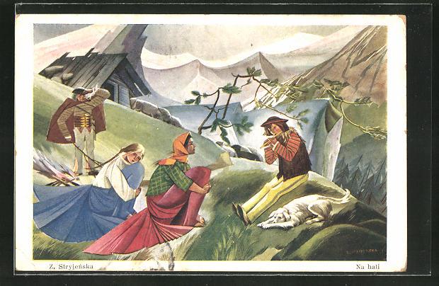 Künstler-AK Zofia Stryjenska: Na hali, Bergidyll mit Lagerfeuer