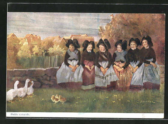 Künstler-AK sign. C. Spindler: Petits canards, Frauengruppe in Tracht beobachtet Gänseküken