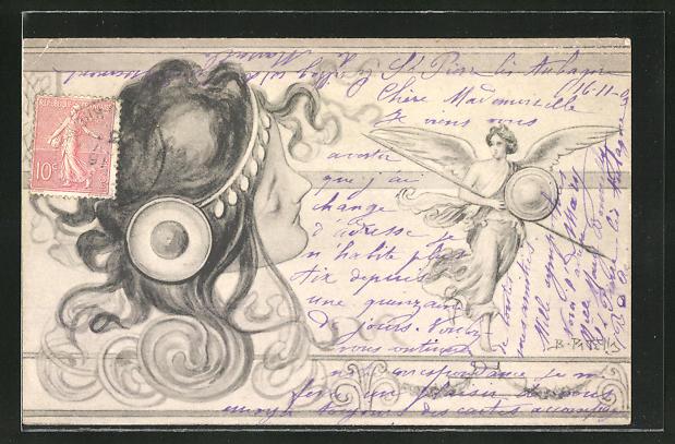 Künstler-AK B. Patella: Damenkopf mit Jugendstilornamenten und Engel mit Lanze und Schild