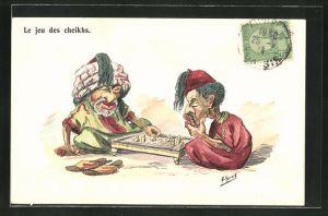 Künstler-AK sign. Herzig: Le jeu des cheikhs, Araber spielen Schach