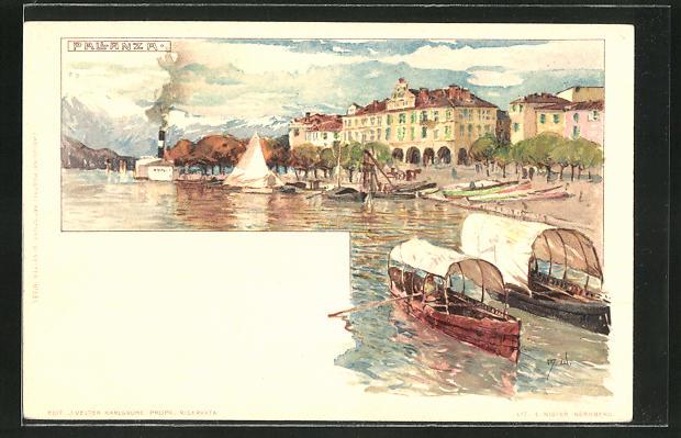 Künstler-AK Manuel Wielandt: Pallanza, Uferblick mit Booten