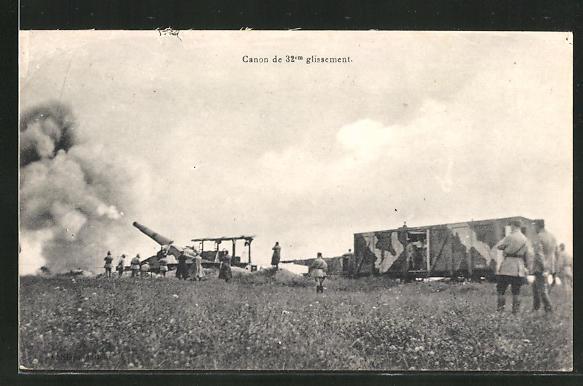 AK Canon de 32cm glissement, Artillerie mit schwerem Geschütz und Militärbahn