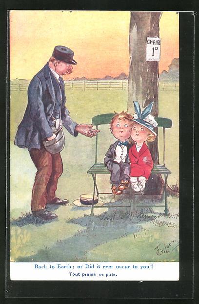 Künstler-AK T. Gilson: Mann verlangt von Kindern Geld für das Sitzen auf einer Bank