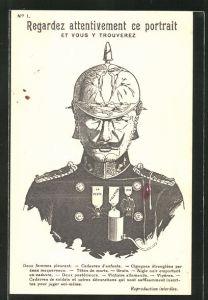 AK Porträt Kaiser Wilhelm II. mit Auszeichnungen für Greueltaten im Kriege