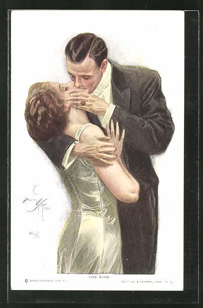 Künstler-AK Harrison Fisher: Liebespaar küsst sich innig
