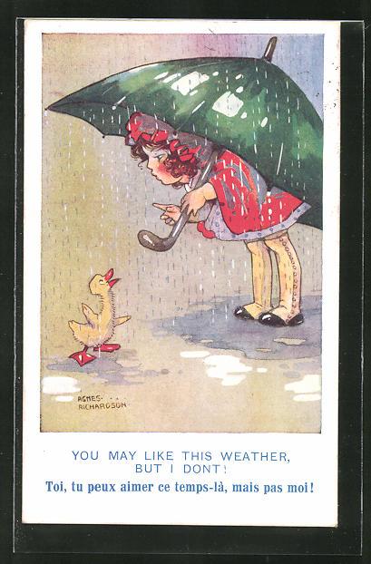 Künstler-AK Agnes Richardson: Mädchen mit Regenschirm und Entlein im Regen