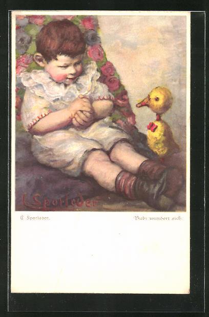 Künstler-AK C. Sporleder: Bubi wundert sich über die Ente