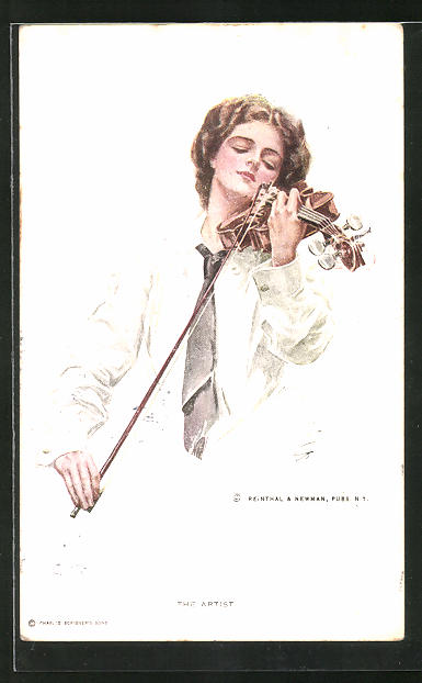 Künstler-AK Harrison Fisher: Junge Frau spielt auf der Geige