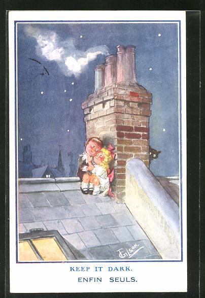 Künstler-AK T. Gilson: Kinder sitzen Nachts auf dem Dach
