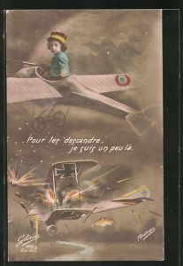 AK Kinder Kriegspropaganda, Kind im Flugzeug holt deutschen Flieger vom Himmel, Fotomontage