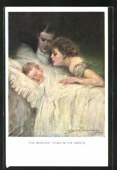 Künstler-AK Clarence F. Underwood: Eltern am Bett ihres schlafenden Kindes