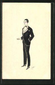 Künstler-AK Handgemalt: eleganter Herr im Anzug mit Zigarette